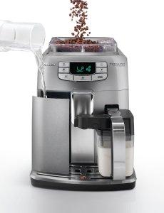 Der Saeco HD8753/95 Intelia Evo One Touch Cappuccino Kaffee-Vollautomat verfügt über zwei Bohnenbehälter